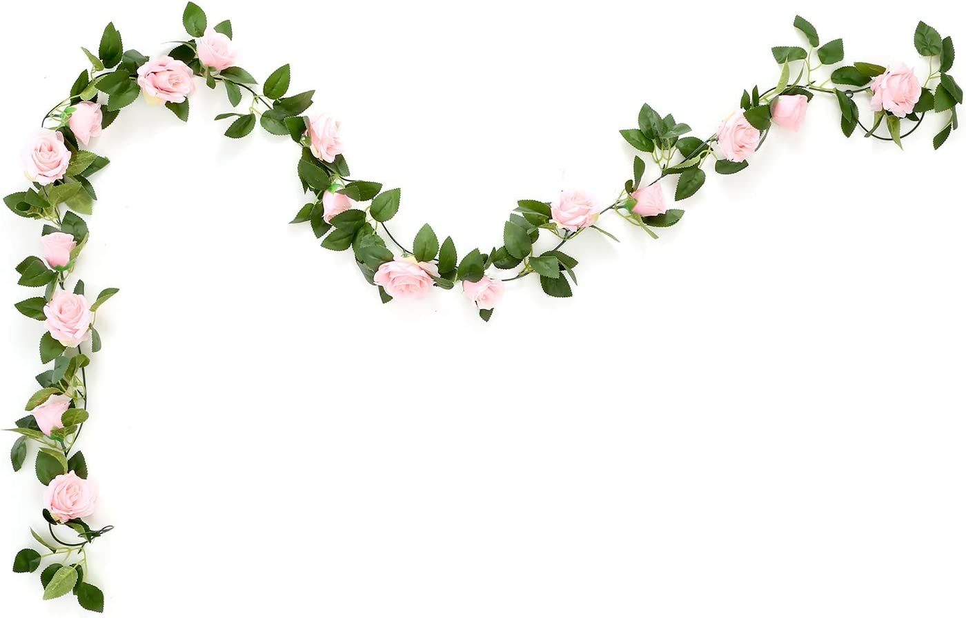 MEHELANY Artificial Rose Vine Flowers with Green Leaves 7.5ft Fake Silk Rose Hanging Vine Flowers Garland Ivy Plants for Home Wedding Party Garden Wall Decoration (Pink) …