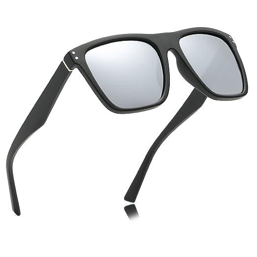 f78871fa853 Amazon.com  DRAGON CHARM Polarized Square Men Sunglasses Women with  Mirrored for Unisex Classic 80 s Black Frame UV400 Mirror White Lens   Clothing
