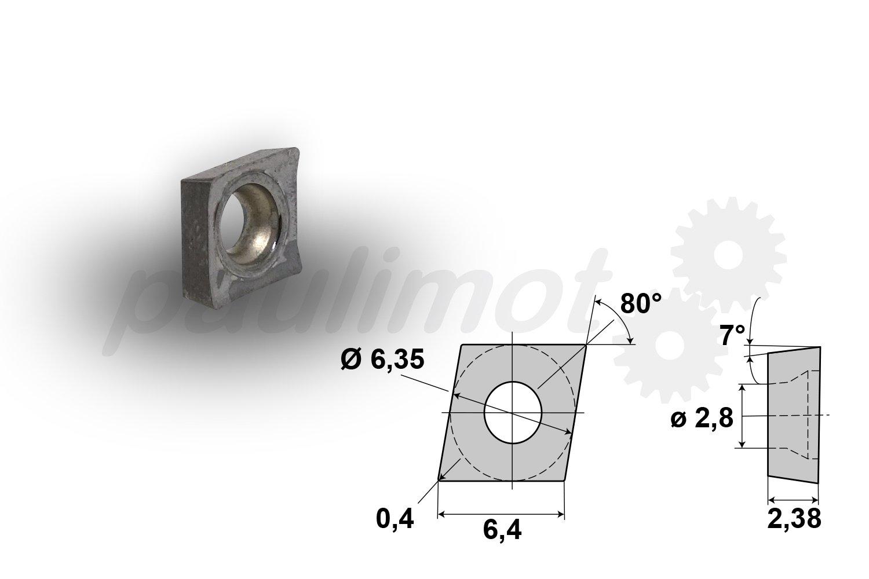 PAULIMOT HM Wendeschneidplatte Wendeplatte CCGT060204-LHC-A, poliert