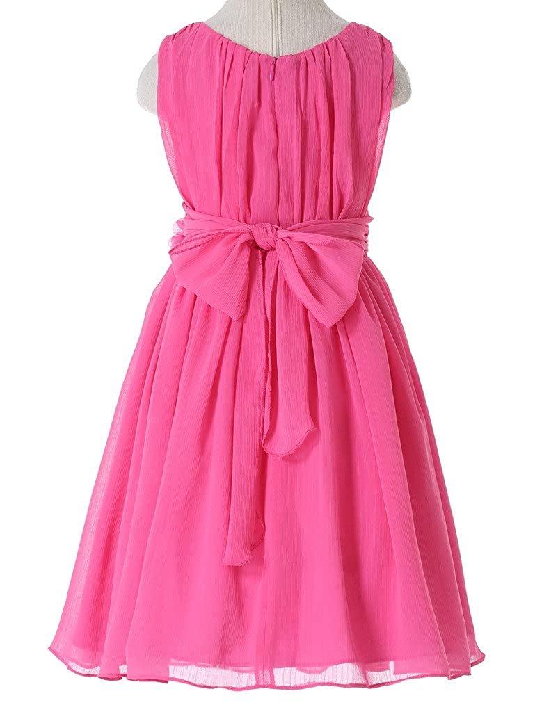 2d0823ea4 Amazon.com: Bow Dream Junior Bridesmaids Little Girls Elegant Ruffle Chiffon  Summer Flowers Girls Dresses: Clothing