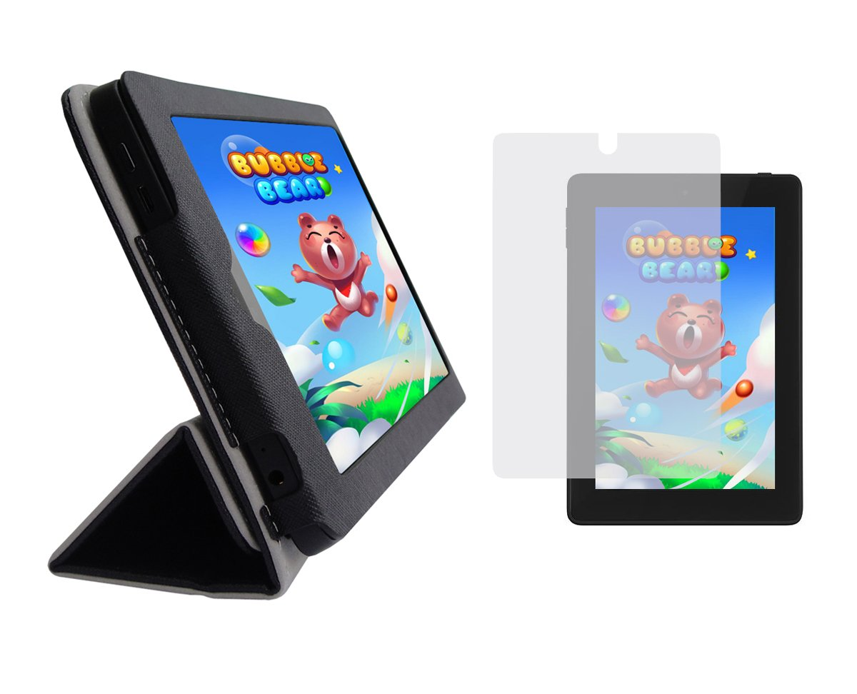 iShoppingdeals – ブラックPUレザーフォリオカバーケース、クリアスクリーンプロテクターfor Amazon Kindle Fire HD 7インチ2014年   B00S8RXSWE