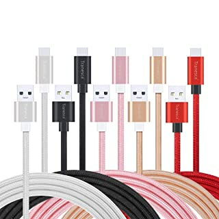 USB Type C Cable, 5 Pack 6ft Tranesca Fast USB Type C Phone Charger Cord for Samsung Galaxy S10 S10+ S9 S8 Plus Note 9 8, LG V20 G5 G6 V30, HTC, Google Pixel 3a XL, Moto X4/Z2,and More