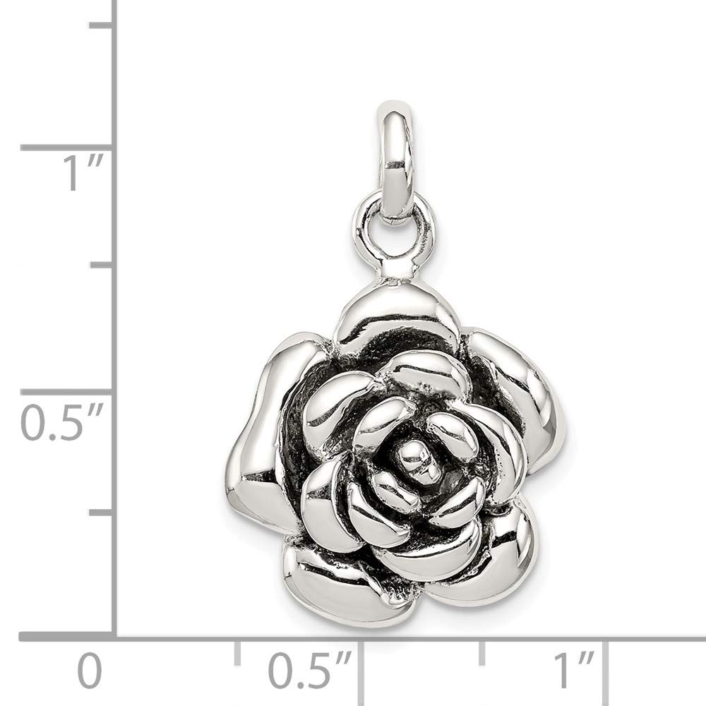 Jewelry Stores Network Sterling Silver Polished Antiqued Rose Pendant