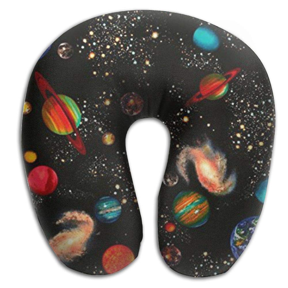CRSJBB219 Solar System Galaxy Comfortable U Shaped Pillow for Airplanes,Cars, Buses,Trains,Camping,Office Napping