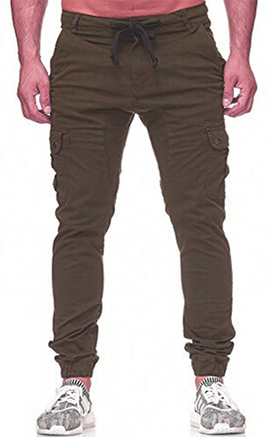 TheFound Mens Multi Pockets Casual Cargo Pants Fashion Jogging Trousers