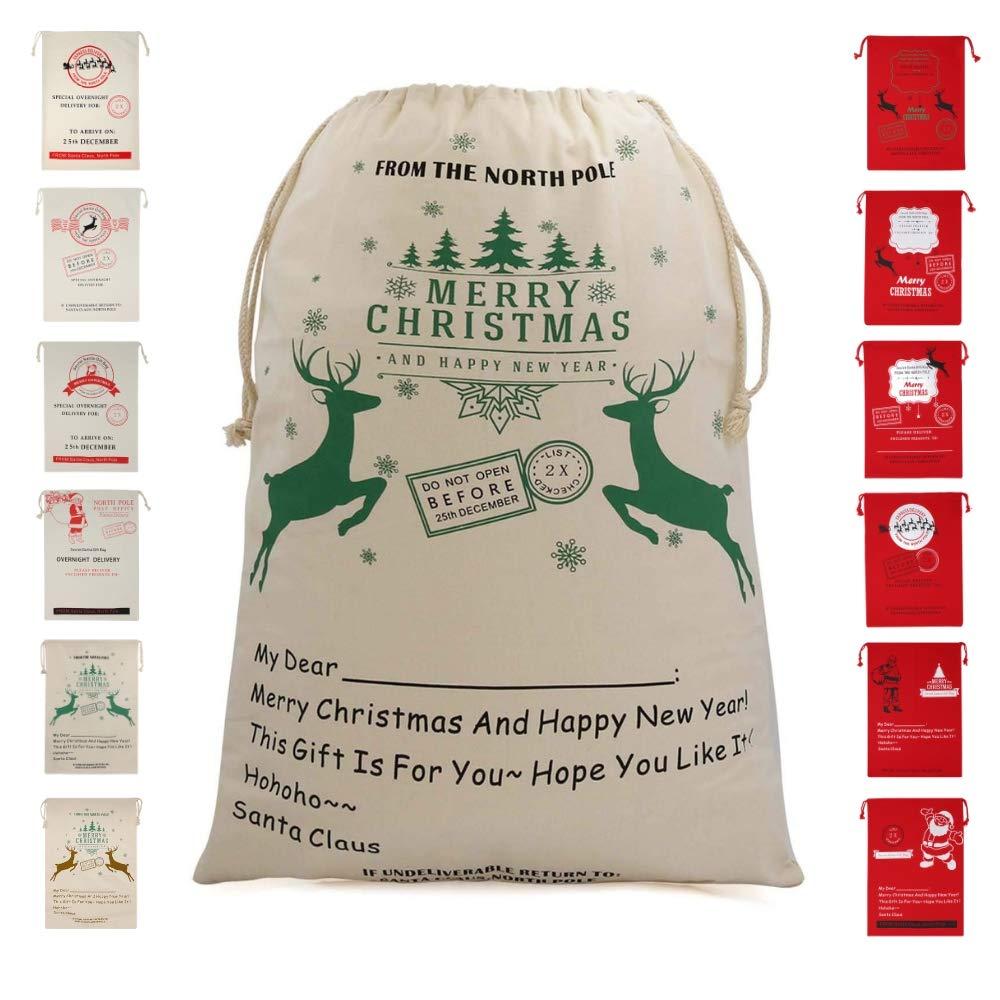 Amazon.com: Bonison Christmas Bag Santa Sack Canvas Bag for Gifts ...