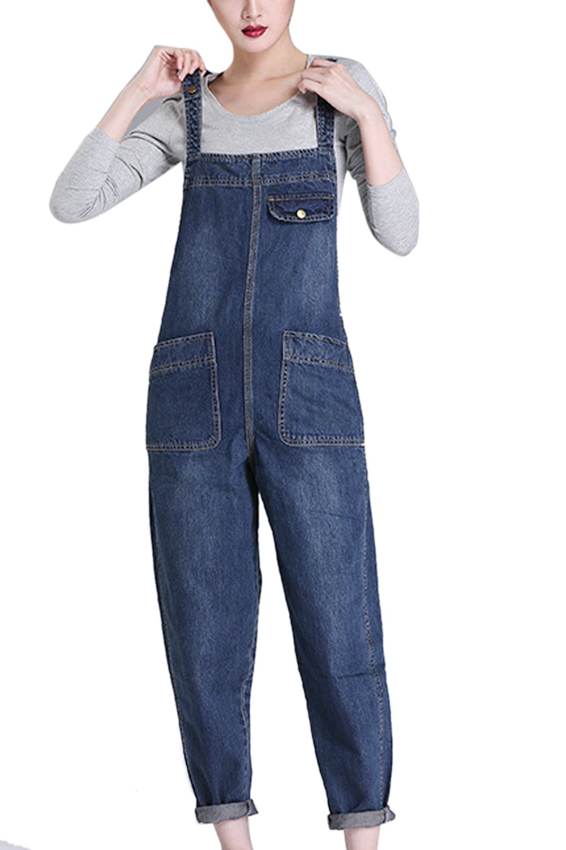 Suvotimo Womens Casual Bib Overalls Denim Jumpsuits Boyfriend Jeans Plus Size CAMEG1350