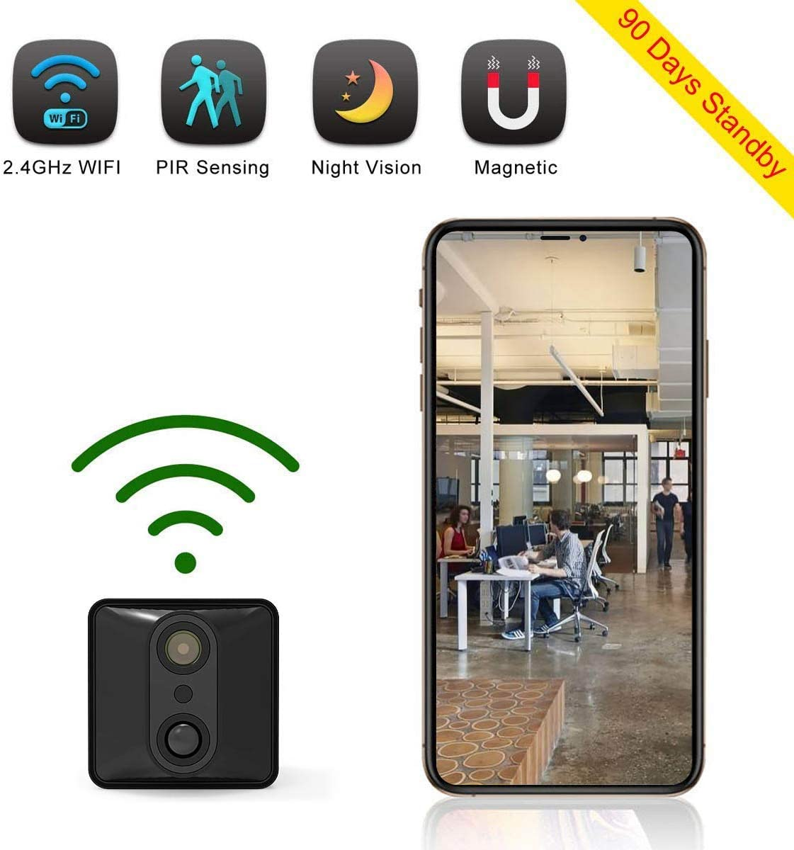 Spy Camera Wireless Hidden Camera Mini WiFi Nanny Cam Security Camera 90 Days Standby with PIR Night Vision Motion Activated via iPhone Android APP