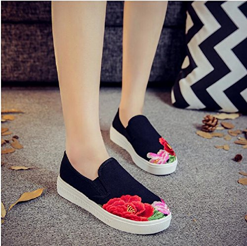 Chinois Chaussures Style Lazutom Mocassin Broderie Baskets Femmes Dame Toile Vintage Casual Sw6fZfYAq