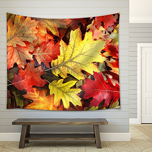 Colorful Oak Autumn Tree Leaves Background Fabric Wall Tapestry