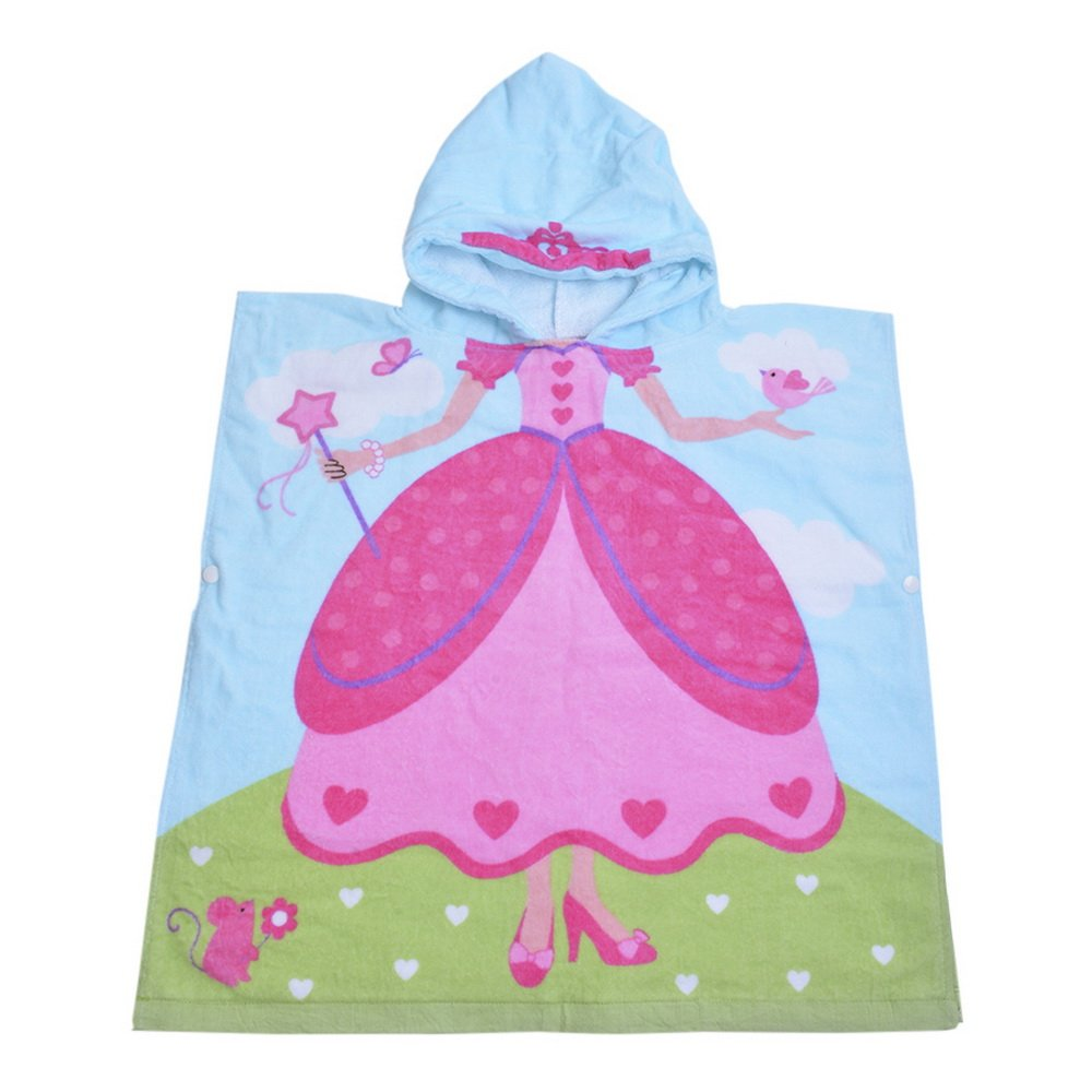 URIJK Cute Cartoon Kids Hooded Bath Towel - Toddler Boy Girls Beach Pool Poncho Towels - Home Bath Robe for Warmer Girls & Boys After Bath, Beach, Pool, Or Swim 24x23 inch