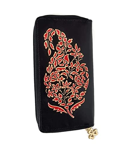 Amazon.com  Tarini Womens wallet handmade Leather iPhone clutch Paisley  Plum  Handmade fcbf882ce3
