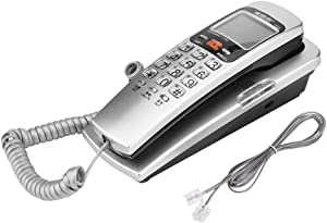 Corded Phone, Mini Desktop Wall Mounted Corded Landline Fashion Extension Phone Fixed Telephone for Home Hotel Office Bank Call Center (Color : Silver)