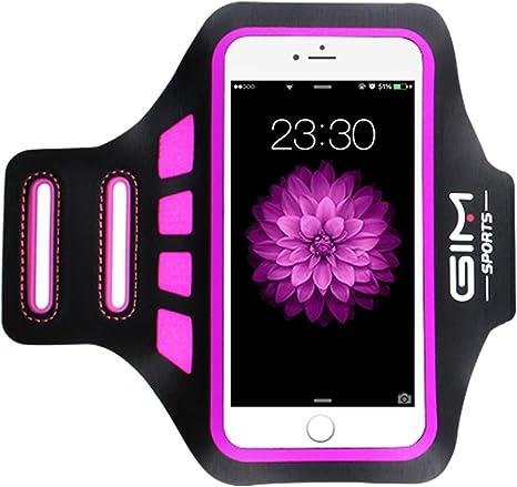 Funda para móvil de pulsera brazalete deportivo universal apto para hasta 6 pulgadas Smartphone iPhone 8 Plus 7 Plus Samsung Galaxy S8 con llave plana para correr Correr Gym Brazo bolsa, mujer,