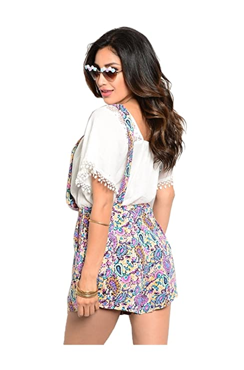 fb2a3182843d Amazon.com  2LUV Women s Short Sleeve Crochet Lace Floral Print Romper  Ivory S  Clothing