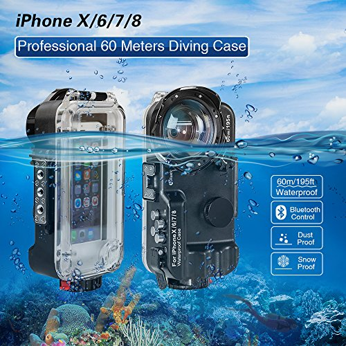 MEIKON iPhone X/6/7/8 Waterproof Case Black Bluetooth Control,195FT/60M IPX8 Certified Waterproof Underwater Swimming Diving Surfing Snorkeling case with Wide Angle Dome Port Lens(NO Battery)