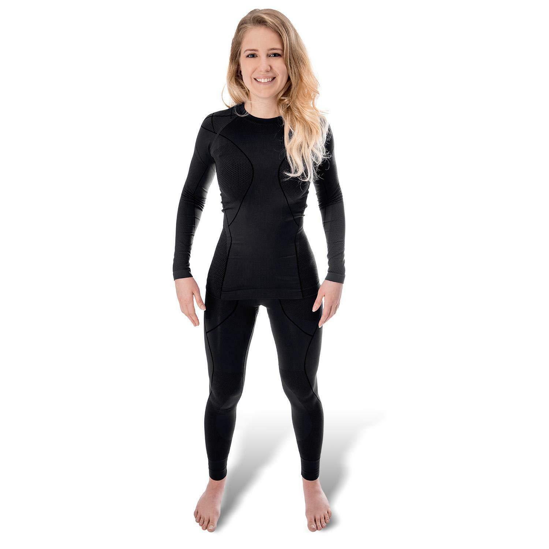 Black Snake® Funktionsunterwäsche Damen Thermo Unterwäsche Lange Unterhose + Langarm Unterhemd Seamless