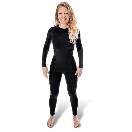 feb1ec45336e3c Black Snake® Funktionsunterwäsche Damen Thermo Unterwäsche Lange Unterhose  + Langarm Unterhemd Seamless - S