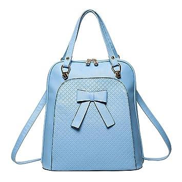 Widewing Travistar Bolsos Mochilas Mujer Casual Bolso elegante de la escuela de la PU de la mochila del hombro del Bowknot de las mujeres / azul: Amazon.es: ...