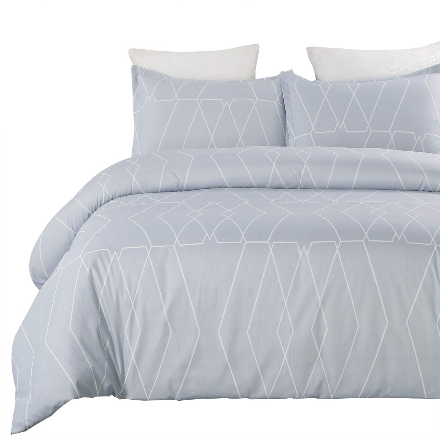 Vaulia Lightweight Microfiber Duvet Cover Set, Geometric Pattern Design, Spa Blue - Queen Size