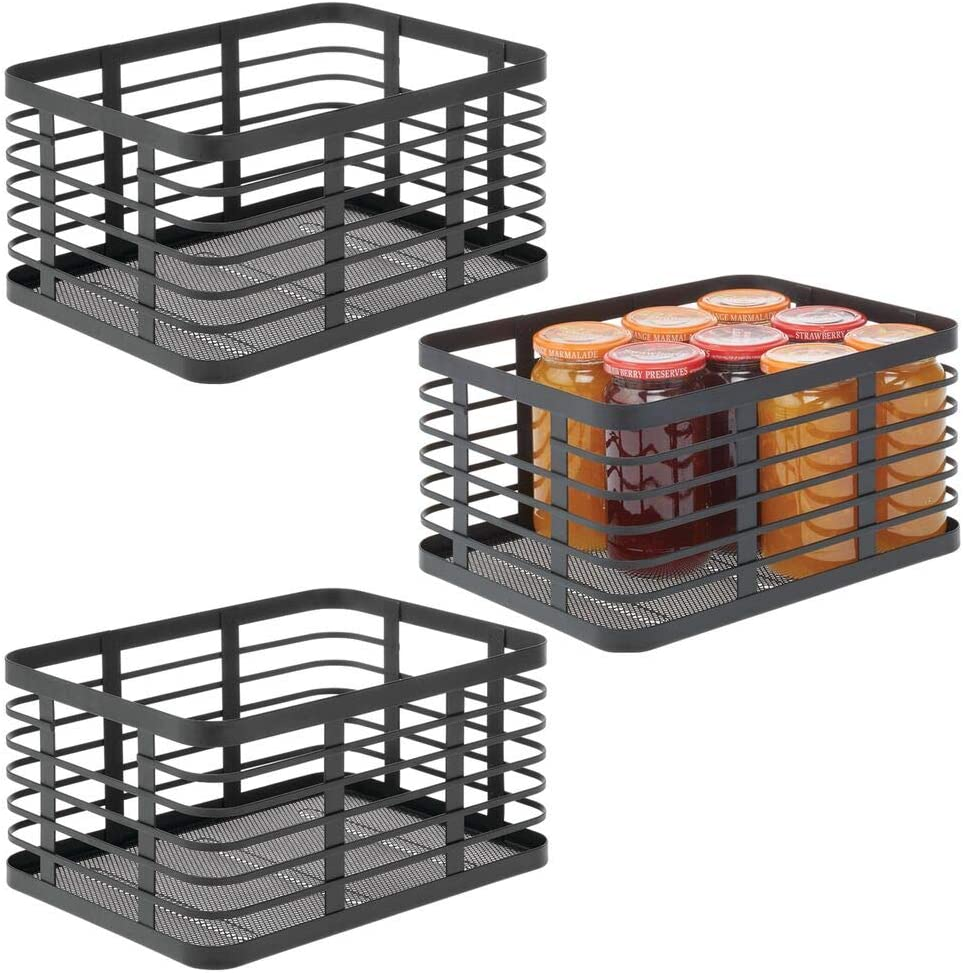 mDesign Modern Decor Metal Wire Food Organizer Storage Bin Basket for Kitchen Cabinets, Pantry, Bathroom, Laundry Room, Closets, Garage, 3 Pack - Black