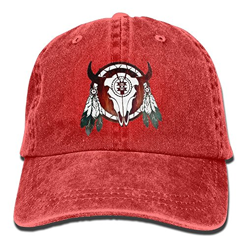 (FastsCOW Native American Buffalo Skull Arrowhead Indian Vintage Washed Dyed Cotton Twill Low Profile Adjustable Baseball Cap Red)