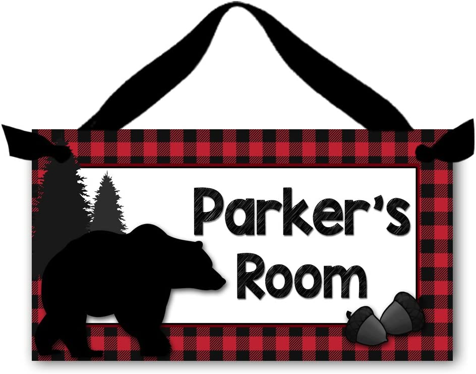 Toad and Lily Red Bear Forest Plaid Boys Personalized Bedroom Baby Nursery Door Sign Wall Art DS0434