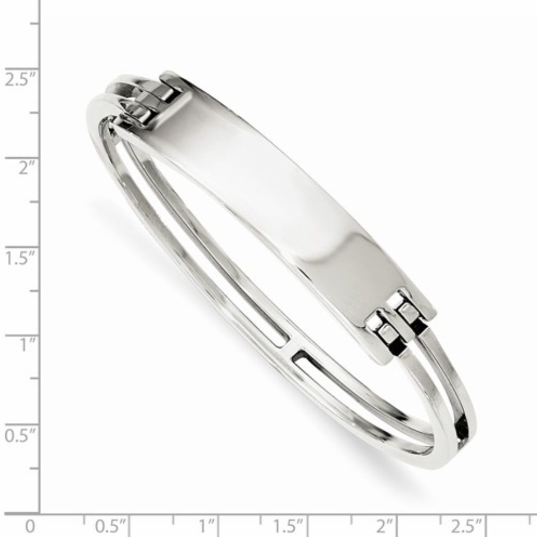 Genuine Sterling Silver Fancy Engravable ID Hinged Bangle Bracelet by Nina's Jewelry Box (Image #2)