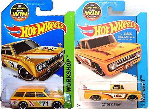 Summer Yellow Hot Wheels Truck & Wagon Set - Datsun Bluebird 510 & Custom '62 Chevy Hot Wheels HW City Garage Surf Shop Patrol 2015 IN PROTECTIVE CASES