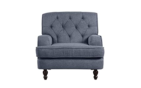 Modern Tufted Fabric Living Room Armchair Light Grey