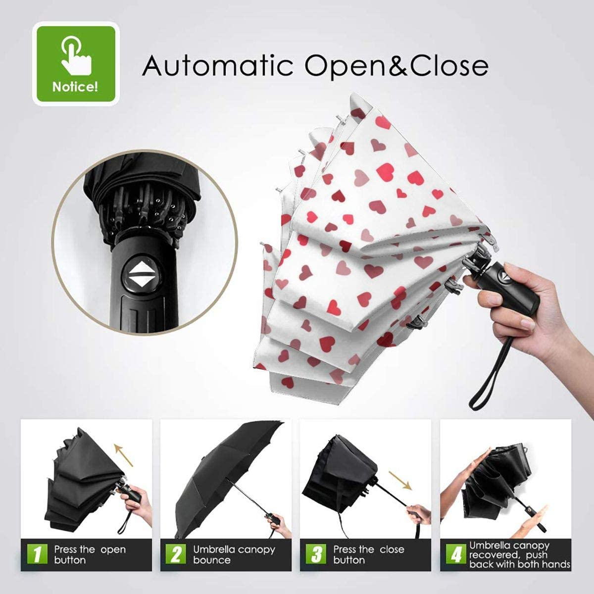 Heart Seamless Background Vector Image Compact Travel Umbrella Windproof Reinforced Canopy 8 Ribs Umbrella Auto Open And Close Button Customized