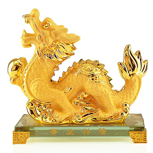 Chinese Zodiac Dragon Golden Resin Collectible Figurines Table Decor (Dragon Collectible Figurine Statue)