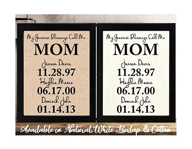 Personalized Mothers Day Gift For Mom Birthday Burlap Or Cotton From Daughter Son Easter