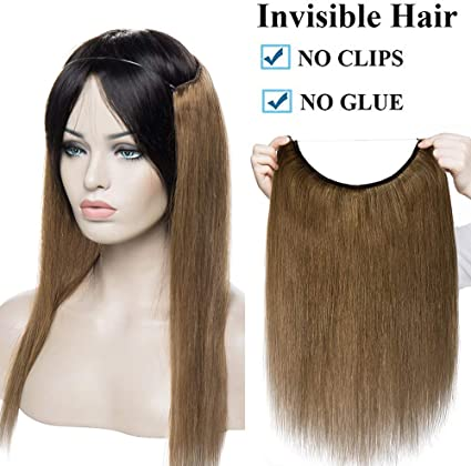 16 Extensiones De Cabello Natural Con Hilo Invisible Sin Clip 100 Remy Pelo Natural Humano Una Pieza Liso Ajuatable Hair Extensions 40cm 60g 6 Castaño Dorado Amazon Es Belleza