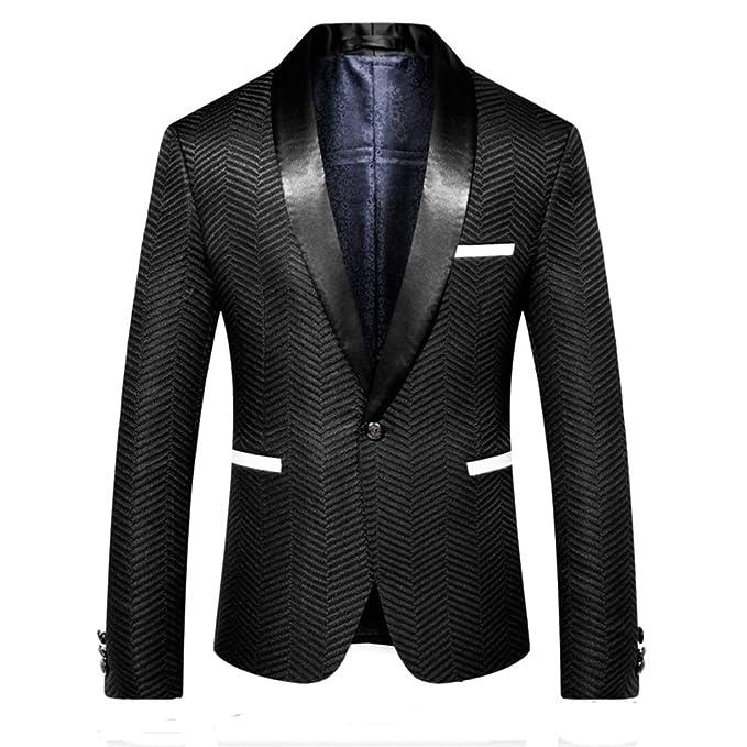 Amazon.com: Mogu para hombre negro traje de chamarra slim ...