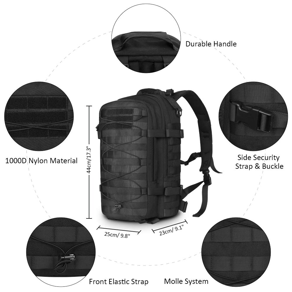 AIRSOFTPEAK Tactical Backpack Military Assault Pack Army Molle Bug Out Bag 1000D Nylon Daypack for Camping Hiking Travel by AIRSOFTPEAK (Image #3)