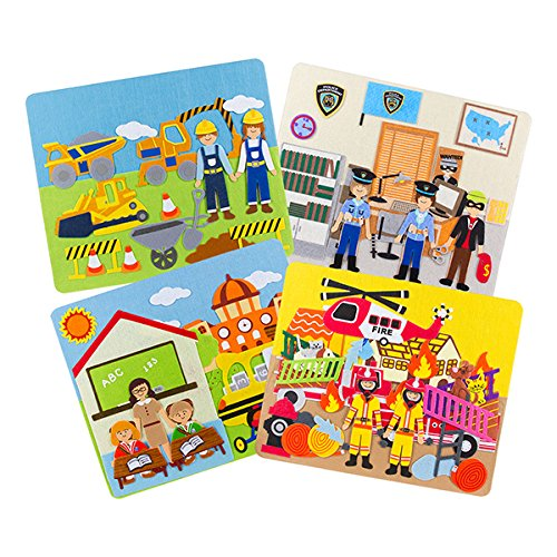 - Sprogs Set of 4 Felt Storyboards w/Storage Bag, Construction, Fire, Police, School, SPG-ENA1020-SO
