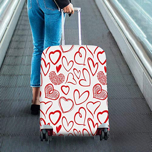 InterestPrint Vintage Valentine Love Heart Travel Luggage Protector Baggage Suitcase Cover Fits 22''-25'' Luggage by InterestPrint (Image #1)