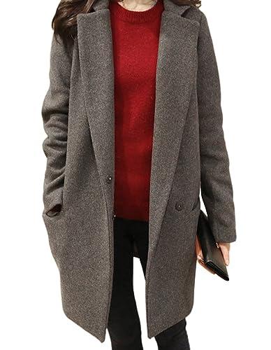 Mujer Elegante Chaqueta Solapa Trenca Abrigo de Manga Larga
