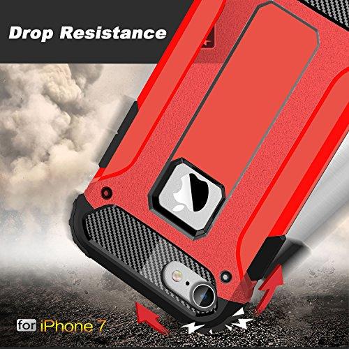 Coque iPhone 7, Pasonomi [Armure Robuste] Ultimate protection et design robuste avec Premium Fini solide Coque pour iPhone 7, Rouge