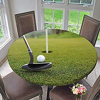 "PINAFORE HOME Round Fitted Tablecloth Golf Band Stick on Green Grass for All Occasions 31.5""-35.5"" Round (Elastic Edge) by PINAFORE HOME"