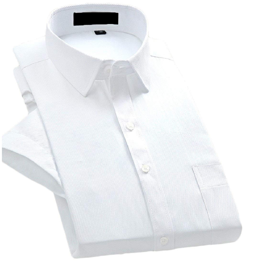 Doufine Men Solid Skinny Business Short Sleeves No Iron Plus-Size Shirt