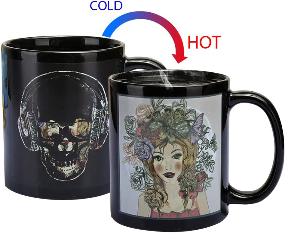 Magic Heat Changing Coffee Mug - Add Coffee or Tea and Girl Appear,Thermometer Sensitive Porcelain Tea Ceramic Coffee Funny Cup, 10 OZ