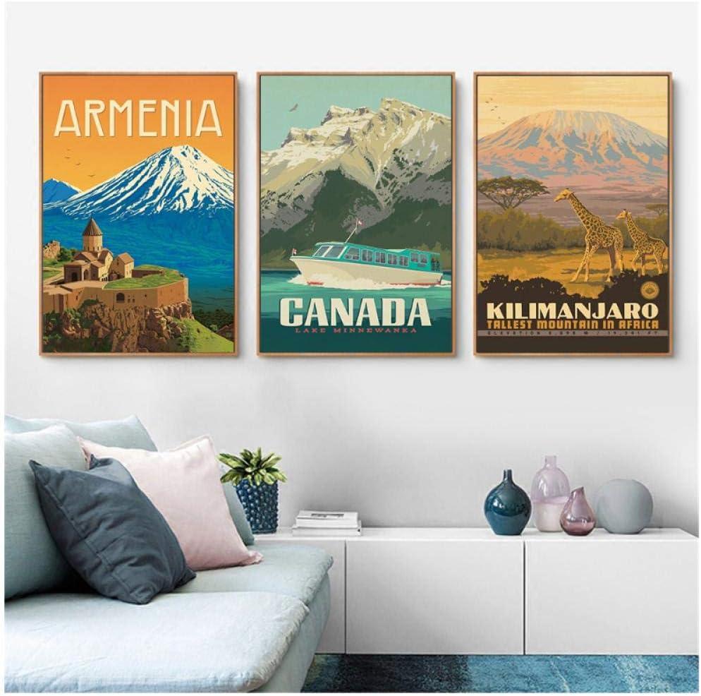 50X70Cmx3 Sin Marco Hdksa Pintura De Pared Paisaje Arte Vintage Cartel Nacional Kilimanjaro Canad/á Armenia Cuadro En Lienzo Imagen De Pared Para Sala De Estar