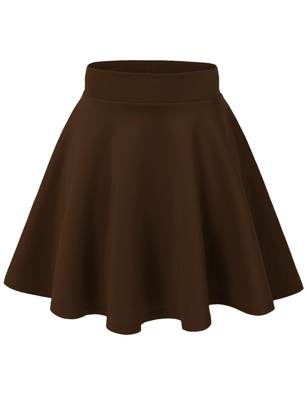 J Doe Style Women's Basic Stretchy Flared Skater Skirt , M, Brown