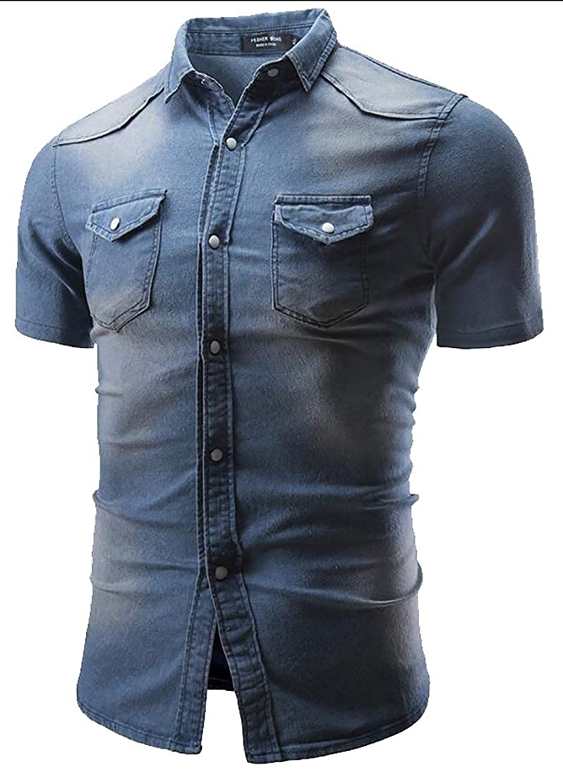 Alion Mens Slim Short Sleeve Denim Solid Color Stylish Button Down Shirts