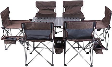 ZQQ Mesa Plegable para Acampar con 6 Sillas para Acampar, Juego De Mesa Y Silla Plegable Portátil para Playa para Acampar Al Aire Libre De 7 Juegos, Marrón: Amazon.es: Deportes y aire