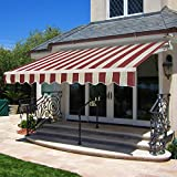 SUPER DEAL Manual Retractable Patio Deck Awning Sunshade Shelter Rain Shelter Outdoor Canopy Balcony Canopy Decorative, 8.2'x6.5' (Burgundy Beige)
