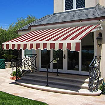 SUPER DEAL Manual Retractable Patio Deck Awning Sunshade Shelter Rain Outdoor Canopy Balcony Decorative 82x65 Burgundy Beige