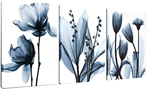 "Sea Charm - Flower Canvas Wall Art Blue Elegant Transparent Flowers Canvas Print Wall Art Painting for Living Room Decor,Still Life Artwork Framed,Each Piece 16""x24"""